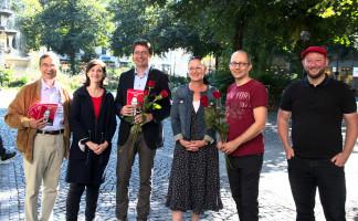 Haimo Liebich (ehem. Stadtrat), StRin Anne Hübner, MdL Florian v. Brunn, MdB Claudia Tausend, StR Nikolaus Gradl und StR Andreas Schuster (©PeterMartl)