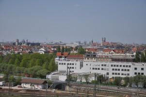 Blick vom Dach, Deutsches Museum, Alter Peter, Dom, Gasteig Kulturzentrum, Kamin Muffatwerk