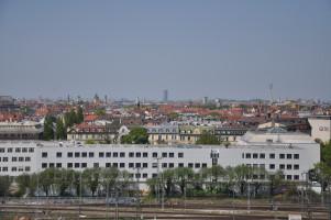 Blick vom Dach, vom Gasteig Kulturzentrum bis zum Olympiagelände