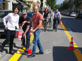 Anne Hübner, Andreas Schuster, Nikolaus Gradl, BA5-Mitglieder Lena Sterzer und Nina Reitz, Anno Dietz