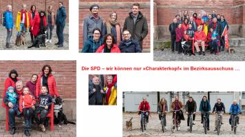 """Banner """"Die SPD - wir können nur »Charakterkopf« im Bezirksausschuss …"""""""