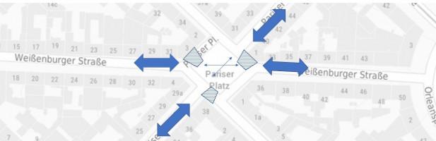 Lageplan für drei Zebrastreifen am Pariser Platz (©NinaReitz)