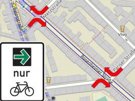 Kartenausschnitt (Quelle: OpenStreetMap, Verkehrszeichen: Bundesanstalt für Straßenwesen) Rosenheimer Straße, Kreuzungen mit Pariser Straße und Metzstraße ©NinaReitz