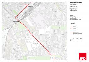 Plan Tramlinie nach Ramersdorf, später auch Perlach (Detail)