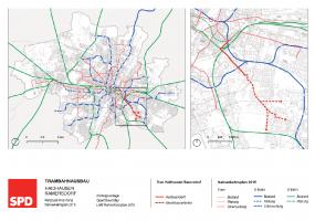 Plan Tramlinie nach Ramersdorf, später auch Perlach (Übersicht)