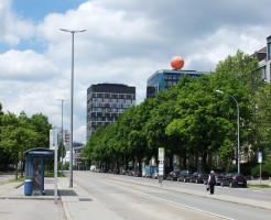 Haltestelle Anzinger Straße, derzeitiger Stand ohne Tramgleis