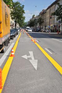 Ehemaliger Pop-Up-Radweg an der Rosenheimer Straße (©PeterMartl)