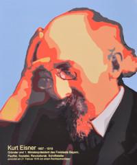 Ein temporäres Plakat am Ort des Attentats auf Kurt Eisner, Bodendenkmal in der Kardinal-Faulhaber-Straße
