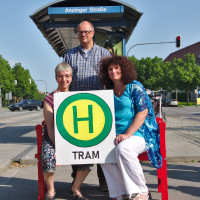 Drei SPD-Fraktionen vertreten durch die Sprecher an der möglichen Tram-Haltestelle Anziger Straße