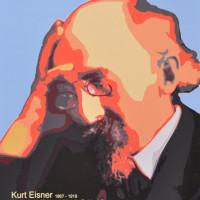 Ein Plakat mit Kurt Eisner am Bodendenkmal in der Kardinal-Faulhaber_Straße