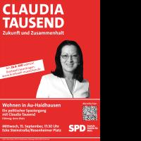 Veranstaltungsplakat Claudia Tausend 15. September 2021