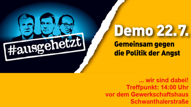 Logo der Demo #ausgehetzt - drei Köpfe führender CSUler - Demotermin