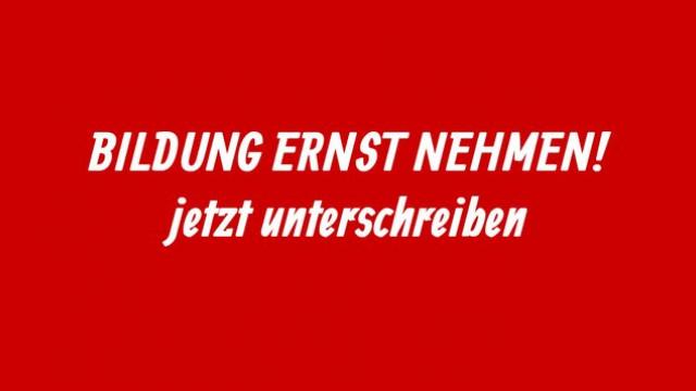 Banner »Bildung ernst nehmen!«, Jusos