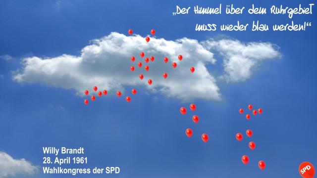 Zitat Willy Brandt, Himmel, Wolken, rote Luftballons, Blauer Himmel Ruhrgebiet