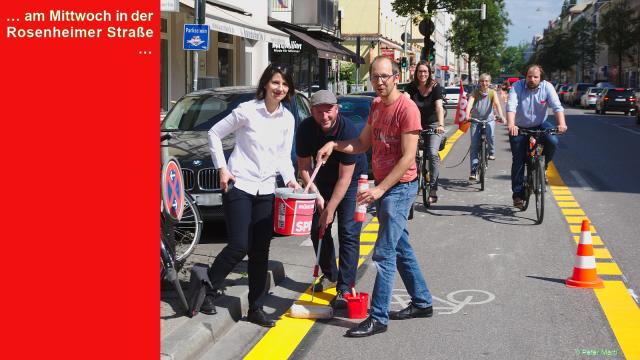 Rosenheimer Straße, StadträtInnen und BA-Mitglieder begrüßen den Pop-Up-Radlweg