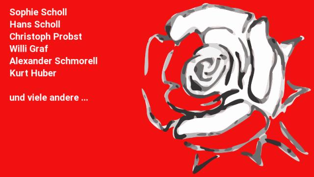 Namen des inneren Weiße-Rose-Kreises, Grafik einer weißen Rose, roter Grund